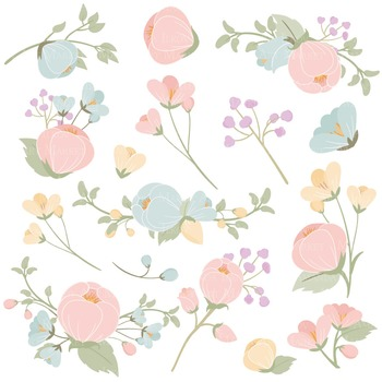 Emma Collection Floral Clipart & Vectors in Grandmas Garden - Flower Clip Art