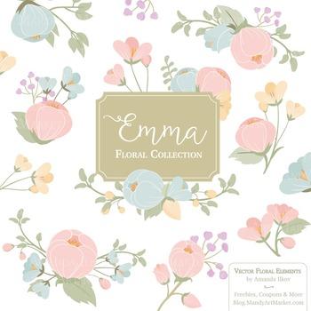 Emma Collection Floral Clipart & Vectors in Grandmas Garde