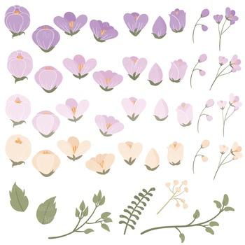 Emma Collection Floral Clipart & Vectors in Lavender - Flower Clip Art, Flowers