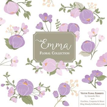 Emma Collection Floral Clipart & Vectors in Lavender - Flo