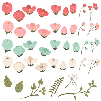 Emma Collection Floral Clipart & Vectors in Mint Coral - Flower Clip Art,