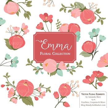 Emma Collection Floral Clipart & Vectors in Mint Coral - F