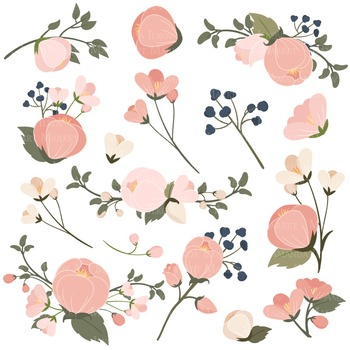 Emma Collection Floral Clipart & Vectors in Navy Blush - Flower Clip Art