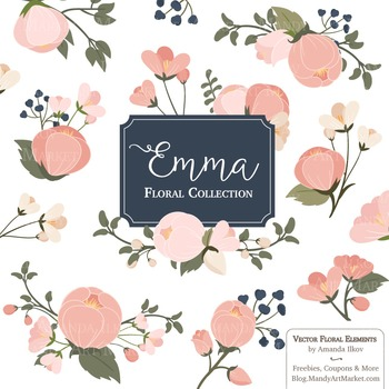 Emma Collection Floral Clipart & Vectors in Navy Blush - F