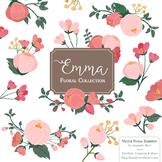 Emma Collection Floral Clipart & Vectors in Rose Garden - Flower Clip Art