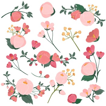 Emma Collection Floral Clipart & Vectors in Rose Garden - Flower Clip Art