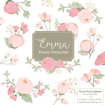 Emma Collection Floral Clipart & Vectors in Soft Pink - Fl