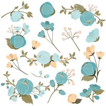 Emma Collection Floral Clipart & Vectors in Vintage Blue - Flower Clip Art