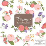 Emma Collection Floral Clipart & Vectors in Wildflowers - Flower Clip Art