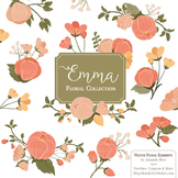 Emma Floral Clipart & Vectors in Antique Peach - Flower Clip Art, Flowers