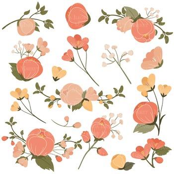 Emma Floral Clipart & Vectors in Antique Peach - Flower Clip Art, Flowers