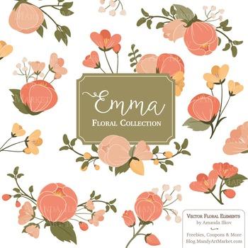 Emma Floral Clipart & Vectors in Antique Peach - Flower Cl