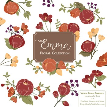 Emma Floral Clipart & Vectors in Autumn - Flower Clip Art, Flowers, Craftbook