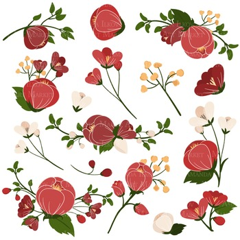 Emma Floral Clipart & Vectors in Traditional Christmas - Flower Clip Art,