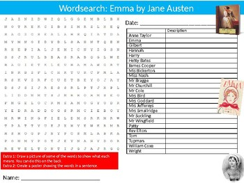 Emma by Jane Austen Wordsearch Puzzle Sheet Keywords English Literature