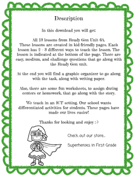Emma's Poem Differentiated Activities Grade 1 Ready Gen Unit 6A