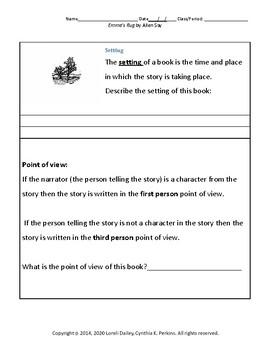 Emma's Rug Book Unit with Literary and Grammar Activities