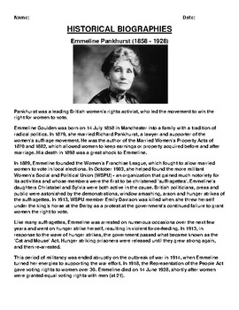 Emmeline Pankhurst  Biography Article and (3) Assignments
