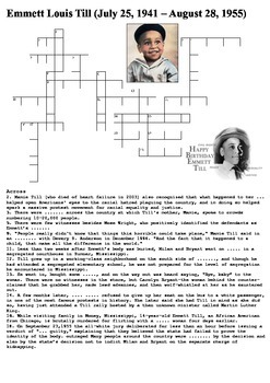 Emmett Till Crossword