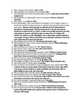 Emmett Till Timeline Websearch Question and Answer- NO PREP