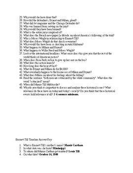 Emmett Till Web Quest Question and Answer- NO PREP