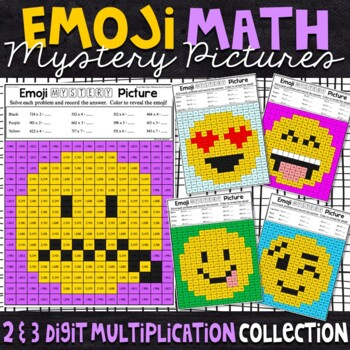 Emoji 2 and 3 Digit Multiplication Mystery Pictures
