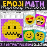 Emoji 2 and 3 Digit by 1 Digit Multiplication Mystery Pictures