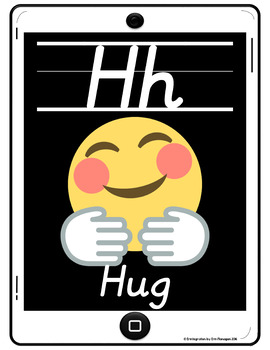 Alphabet Cards with Emojis and Slanted Print