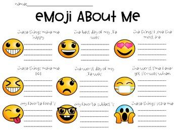 Emoji About Me FREEBIE