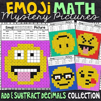 Emoji Adding and Subtracting Decimals Mystery Pictures