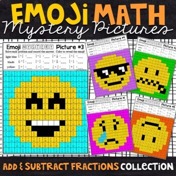 Emoji Adding and Subtracting Fractions Mystery Pictures