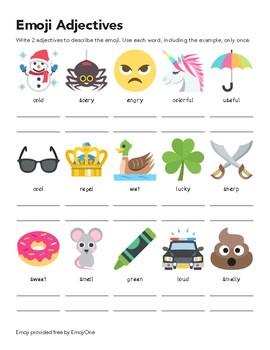 Emoji Adjective Worksheet #2 by Nancy's Classroom | TpT