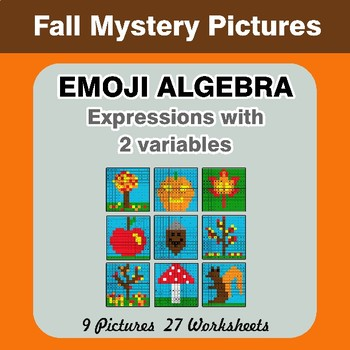 Emoji Algebra: Expressions with 2 variables - Autumn Color By Number