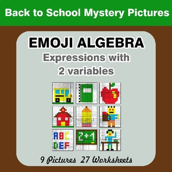 Emoji Algebra: Expressions with 2 variables - Back To School Color By Number