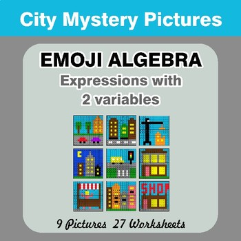 Emoji Algebra: Expressions with 2 variables - City Color By Number