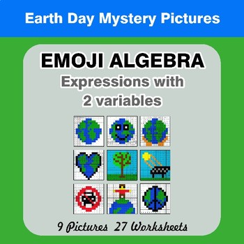 Emoji Algebra: Expressions with 2 variables -  Earth Day Color By Number