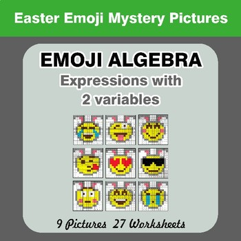 Emoji Algebra: Expressions with 2 variables - Easter Emoji Color By Number