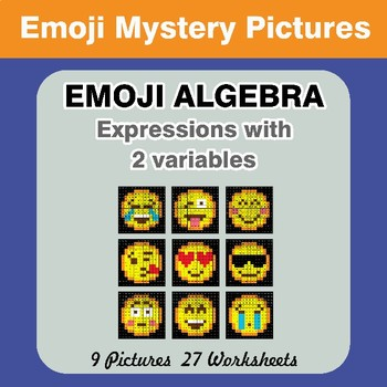 Emoji Algebra: Expressions with 2 variables - Emoji Color By Number