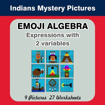 Emoji Algebra: Expressions with 2 variables - Indians Color By Number