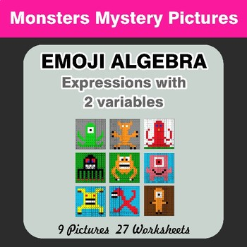 Emoji Algebra: Expressions with 2 variables - Monsters Color By Number