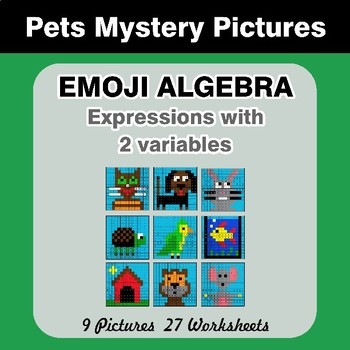 Emoji Algebra: Expressions with 2 variables - Pets Color By Number