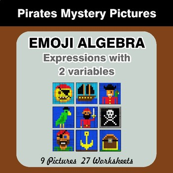 Emoji Algebra: Expressions with 2 variables - Pirates Color By Number