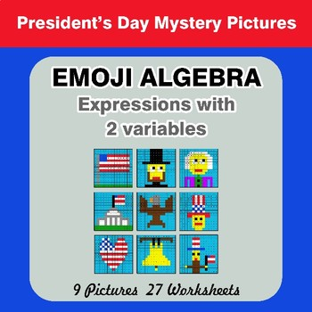 Emoji Algebra: Expressions with 2 variables - President's Day Color By Number
