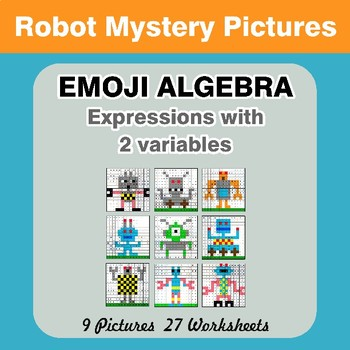 Emoji Algebra: Expressions with 2 variables - Robots Color By Number