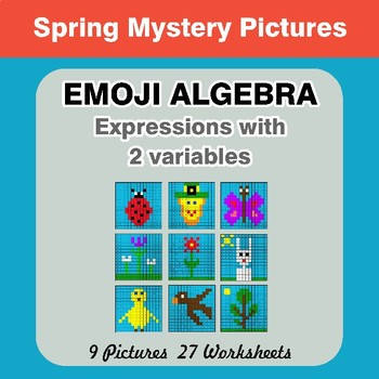 Emoji Algebra: Expressions with 2 variables - Spring Color By Number