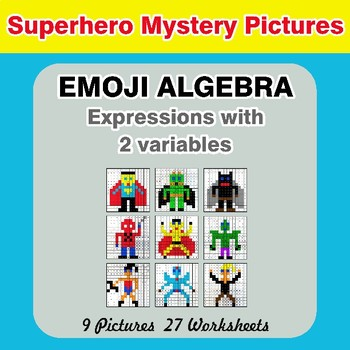 Emoji Algebra: Expressions with 2 variables - Superhero Color By Number