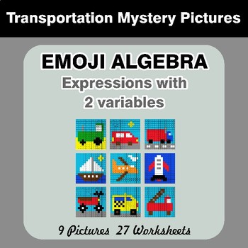 Emoji Algebra: Expressions with 2 variables - Transportation Color By Number
