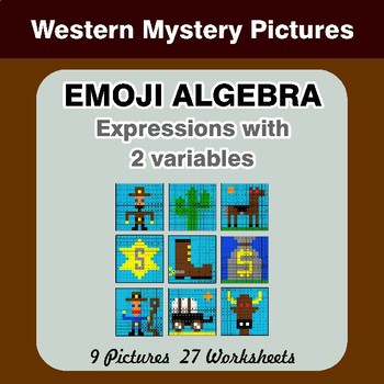 Emoji Algebra: Expressions with 2 variables - Western Color By Number