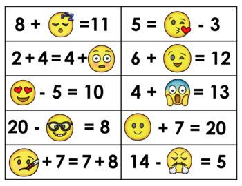 Emoji Algebra- Grade 1 (Addend, Minuends, Subtrahends within 20)