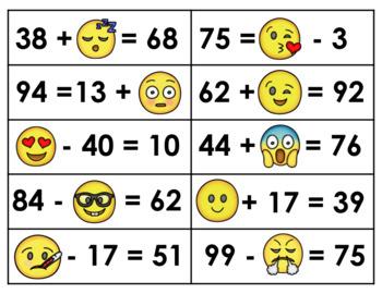 Emoji Algebra- Grade 2 (Addends/Minuends/Subtrahends within 100 - no regrouping)